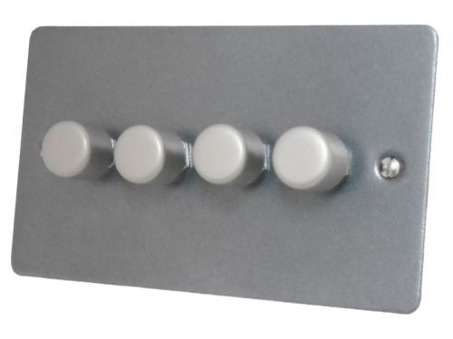 G&H FP14 Flat Plate Pewter 4 Gang 1 or 2 Way 40-400W Dimmer Switch